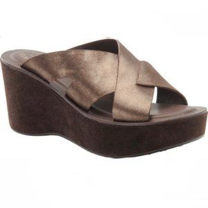 Kork Ease Lana Bronze Leather Suede Wedge Sandals